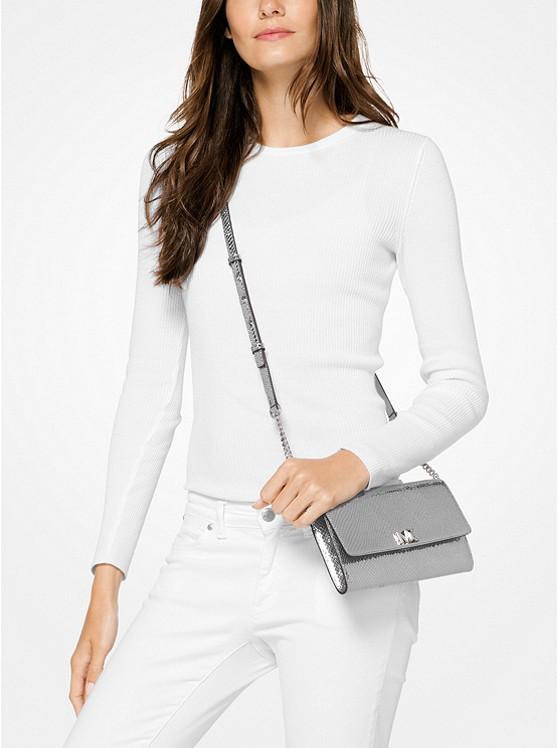 2396de457a9a Женская сумка Michael Kors Mott Metallic Snake-Embossed Leather ...