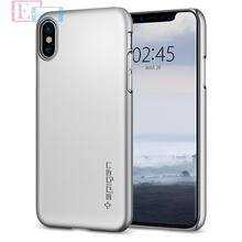 Чехол бампер Spigen Case Thin Fit Series для Apple iPhone X Satin Silver (Серебро)
